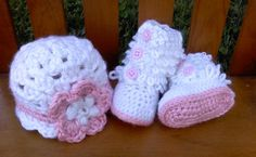 Ugg Baby Boots with Flower Bean Hat  Stylish Pink and by cmiron
