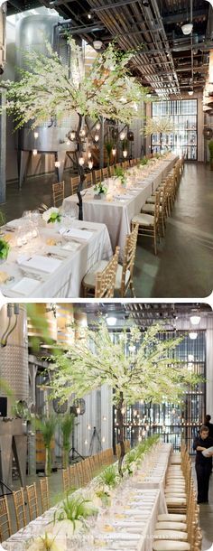 Stunning communal wedding reception at Stratus, a LEED Certified Winery in Niagara-on-the-Lake, Ontario.