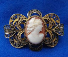 Antique Cameo Brooch, Edwardian, 900 Silver, Gold Wash, Cannetille, Genuine Shell, ca 1910-20 NT-968
