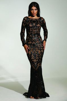632930c5f51 Tinaholy Couture T1890 Black   Nude Long Sleeve Mermaid Formal Gown Prom  Dress