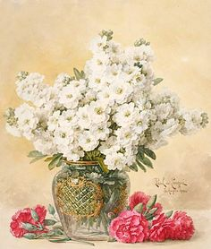 "PAUL DE LONGPRE (French/American, 1855-1911) ""White Tuberoses in a Glass Vase and Red Carnations,"" Watercolor on paper, 1909, from Michaan's Auctions"