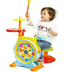 Prextex Kids' Electric Toy Drum Set for Kids Working Microphone Lights and Adjustable Sound Bass Drum Pedal Drum Sticks with Little Chair All Included - Drum Solo Childrens Drum Set, Kids Drum Set, Drums For Kids, Electric Drum Set, Blue Electric Guitar, Kids Learning Toys, Kids Toys, Electronic Drum Pad, Drum Pedal