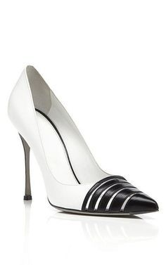 fc96d53cf4 The Cocktail Specialist   karen cox. Sergio Rossi White   Black Claire  Pumps on Moda Operandi