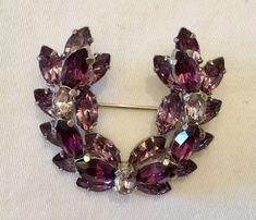 Sherman Signed Purple Lilac Amethyst Crystal Brooch | eBay
