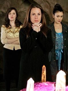 From Charmed Played by Holly Marie Combs, Alyssa Milano, Shannen Doherty, and Rose McGowan Three isn't a crowd for the sisters on Charmed, who find they're bonded by something stronger than blood: witchcraft. - Seventeen.com