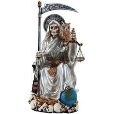 White Santisma Muerte Death Enthroned Statue