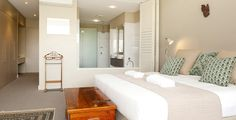 Master bedroom features a large open plan ensuite and walk in wardrobe