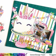 """Virginia Walker on Instagram: """"A new #12x12layout share today featuring the super cute Unicorn Cake #cutfile from #coapacutfiles . I used Pink Paislee #pphorizon for this…"""" Birthday Scrapbook Pages, Scrapbook Layouts, Cute Unicorn, Virginia, Super Cute, Paper, Pink, Instagram, Design"""