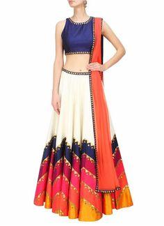 Off White Dupioni Raw Silk Circular Lehenga Choli ,Indian Dresses