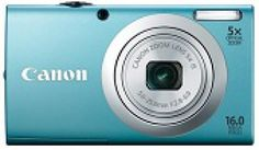 Canon PowerShot A2400 IS Review: The budget-priced Canon PowerShot A2400 IS in offered in four body colors: Blue, black, pink, and silver.
