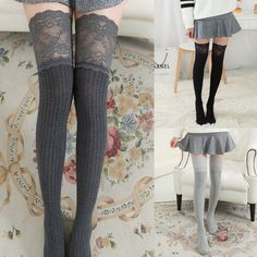 583c8a33657 Womens ladies Over Knee Long Casual Thigh High Plain Cotton Overknee Socks  US  Unbranded
