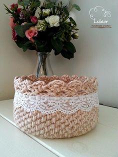 Crochet basket Crochet storage basket Cotton crochet by Lulaor