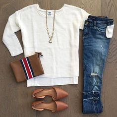 Women's fall weekend outfit with style . Worn in and ripped dark jeans, white long sleeve top, brown pointed flats, Brown wristlet bag, and a long gold necklace. #womensoutfit #fallstyle #afflink