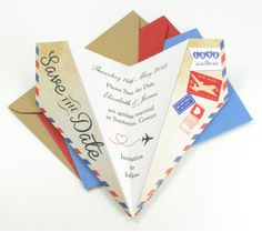 Paper airplane save the date #savethedate #weddingideas