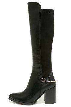 Black Knee High Heel Boots ==