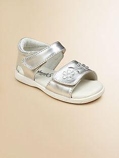 $50 get size 4 for summer Footmates Infant's & Toddler Girl's Metallic Fleur Sandals