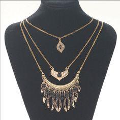 Gypsy Ethnic Big Gem Coin Maxi Necklace