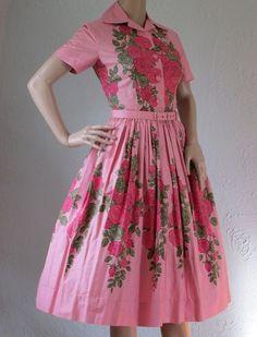 Original Vintage 50s 'Horrockses' Rose Print Shirtwaist Day Dress Full Skirt 6 8 | eBay
