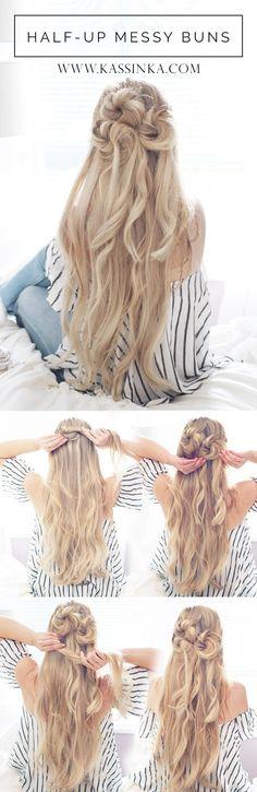 Half-up Messy Buns Hair Tutorial