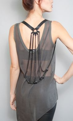 Five Points Drape Harness.  Back Detail.  Worn like a vest.