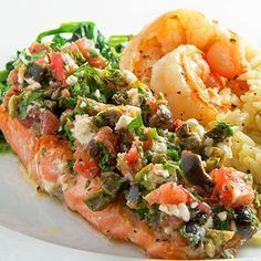 6 Mediterranean Diet-Inspired Recipes - like this salmon, mixed olives, tomato, and feta cheese recipe.
