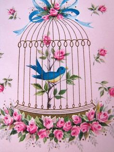 Bluebird and roses