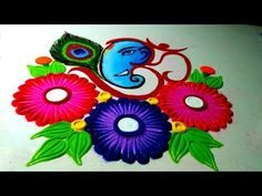 Easy and Beautiful om ganpati ji rangoli. ॐ गणपति रंगोली। Diwali Special Rangoli Design, Easy Rangoli Designs Diwali, Rangoli Simple, Rangoli Designs Latest, Simple Rangoli Designs Images, Rangoli Designs Flower, Free Hand Rangoli Design, Small Rangoli Design, Rangoli Patterns
