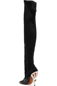 Givenchy - Leather-paneled Suede Over-the-knee Boots - Black - IT38.5