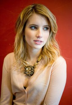Emma Roberts- soft #cardigan, #necklace