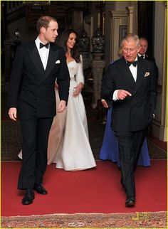 Prince William, the Prince of Wales, Catherine, Duchess of Cambridge and Camilla the Duchess of Cornwall leaving Clarence House for the reception/dinner on 29 April,2013