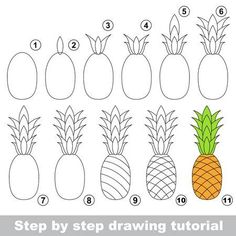 Simple easy drawing drawing tutorial for children easy educational kid game simple level of difficulty kid Easy Drawings For Beginners, Easy Drawings For Kids, Drawing For Kids, Art For Kids, Children Drawing, Pineapple Drawing, Pineapple Painting, Pineapple Art, Easy Fruit Drawing