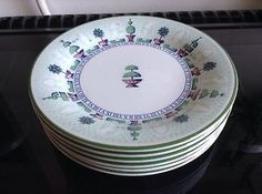 Staffordshire topiaire Assiettes x 6 nice condition in Pottery, Porcelain & Glass, Pottery, Staffordshire, Tableware | eBay