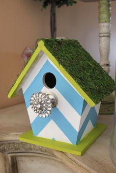 """Isabelle Thornton"" Le Chateau des Fleurs: Coastal Chevron and moss bird house DIY"