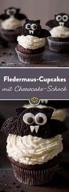 Halloween: bat cupcakes with cheesecake shock What a frightening moment when you suddenly come across the delicious filling of cheesecake cream on the second bite. Halloween: Fledermaus-Cupcakes mit Cheesecake-Schock 15 Source by Halloween Cupcakes, Halloween Torte, Dessert Halloween, Halloween Food For Party, Halloween Treats, Halloween Chocolate, Halloween Buffet, Halloween Kostüm, Cheesecake Recipes