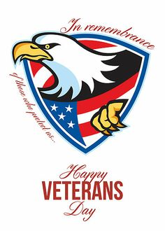 Happy Veterans Day American Eagle Greeting Card by patrimonio