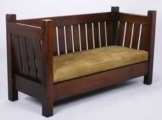 Early Gustav Stickley no.173 Even Arm Settle | c.1902 | Original finish. Unsigned |   71″w x 39″h x 28.5″d