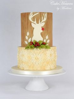 Rudolph's Christmas Cake by CakeHeaven by Marlene Christmas Cake Designs, Christmas Cake Decorations, Holiday Cakes, Christmas Cakes, Xmas Cakes, Christmas Stuff, Christmas Baking, Cupcakes, Cupcake Cakes