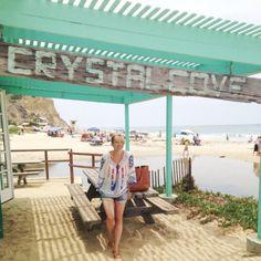 Crystal Cove Beach is so cute. Love this minty green beach shack.