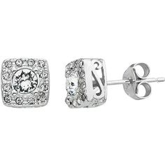 Diamond Splendor Crystal & Diamond Accent Sterling Silver Square Halo... ($40) ❤ liked on Polyvore featuring jewelry, earrings, white, sterling silver jewellery, sterling silver square earrings, white crystal earrings, square earrings and sterling silver jewelry