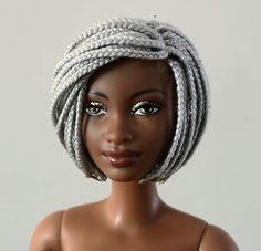Barbie in grey braids African Dolls, African American Dolls, Chucky, Fashion Royalty Dolls, Fashion Dolls, Bob Box Braids, Diva Dolls, Dolls Dolls, Beautiful Barbie Dolls