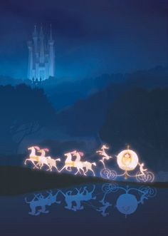 Disney | Cinderella, her coach and white horses. How are they so well lighted? Solar power? Fiber optics?