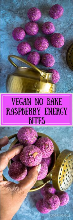 Vegan No Bake Raspberry Energy Bites are made with raw cashews, coconut and raspberries. They're brightly flavored and a delicious pick-me-up, healthy snack recipe. They are No Cook, Gluten Free and Vegan Friendly. A tasty and nutritious snack that adults and kids will love equally.