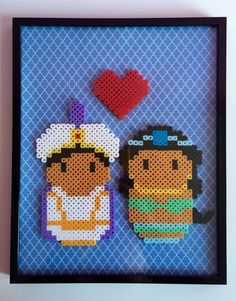 Encadrée d'Aladdin et Jasmine Couple Art pariétal par PixelPrecious