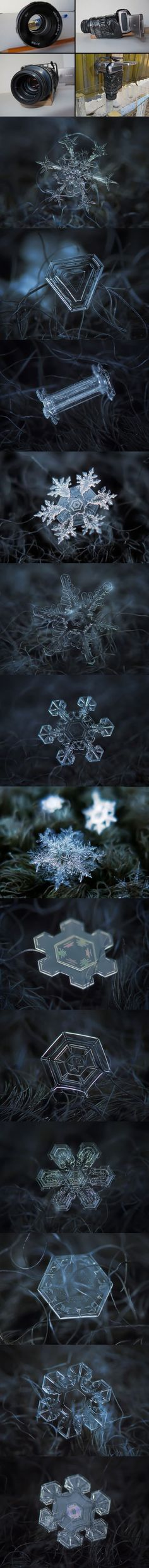 Russian photographer Alexey Kljatov used this cheap home-made camera rig to to take close-ups of snowflakes