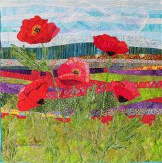 Poppy Fields II. Art quilt by Eileen Williams
