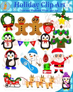 """""""Winter Christmas Holiday Clipart"""" by Smart as a Fox Designs ♥This collection contains 42 clip art pieces: 22 vividly colored images and 20 black and white (lineart) images. ♥All images in this set have a high resolution of 300 ppi for clear printing, even if you choose to change the size of the clip art. PNG TRANSPARENT BACKGROUND."""