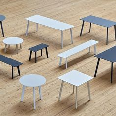 The Bouroullec brothers' Copenhague Deux collection is a versatile range of tables and benches designed especially for compact spaces. Bench Designs, Cool Designs, Eames, Hay Design, Aesthetic Design, Glass Table, Contemporary Furniture, Bar Stools, Solid Wood