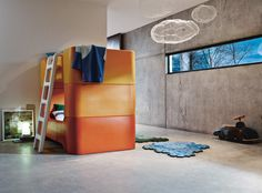 Birds+clouds by Benedetta Mori, Bunky beds by Marc Newson and Puzzle Carpet
