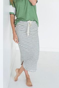 Black Stripe Terry Midi Skirt