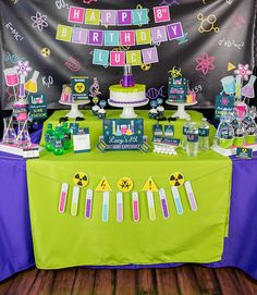 Tips and Trick on Birthday Party Ideas Mad Science Party, Mad Scientist Party, 6th Birthday Parties, Birthday Party Decorations, 9th Birthday, Science Lab Decorations, Party Flags, E Mc2, Party Signs